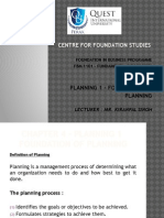 Chapter 4 - Planning 1 (Foundation of Planning)