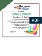 RPMS Certificate of Participation