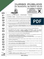Funcab 2009 Prefeitura de Porto Velho Ro Assistente de Arrecadacao x Prova