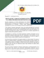 Cabildo Interreligioso de Colombia - Mensaje a Mesa de Paz Cuba - Junio 2015