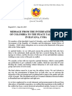 Interfaith Council of Colombia - Letter to Peace Talks Table in Havana Cuba