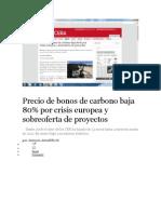 Precio de Bonos de Carbono Baja 80