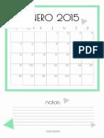 Calendario en Colores Pastel 2015