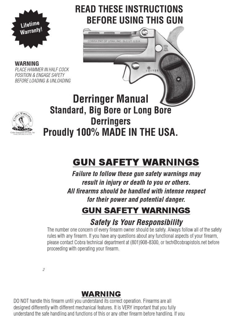 Cobra Firearms Big BoreDerringer Manual | Trigger (Firearms