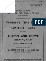 Working Timetable Abstract, 1962/3, Passenger, Dudley-Burton