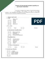 Kitex Quality Questionnaire