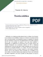 Theodor W. Adorno - Teoría Estética