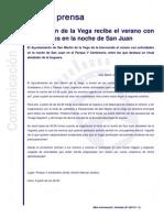 Nota de Prensa - San Martín de la Vega recibe el verano con actividades en la noche de San Juan