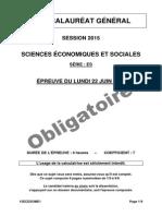 Bac ES 2015 - sciences économiques et sociales