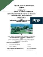 Himachal Pradesh University Admissions Prospectus