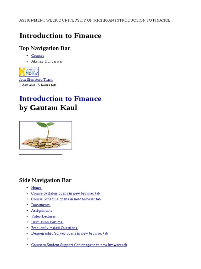 Introduction to Finance University of Michigan Assignment Answers