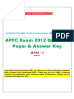 APFC 2012 Question Paper Series D