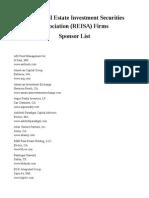 TICA - REISA Sponsor List