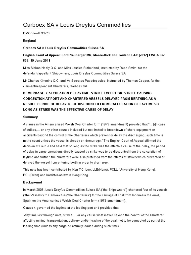 Carboex Sa V Louis Dreyfus Commodities Common Law Judiciaries