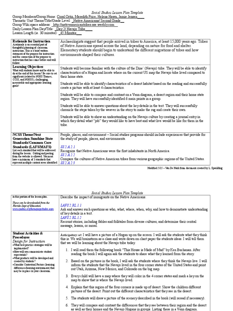 Unitplanday2new Lesson Plan Native Americans In The United States