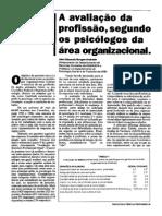 Avaliação Da Pprofissao Segundo Psicólogos da área  Organizacional