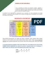 Valencias Nomenclatura Inorgánica