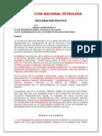 DECLARACIÓN POLÍTICA Convención Nacional Petrolera