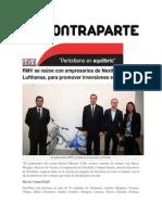 21-06-2015 Contraparte - RMV Se Reúne Con Empresarios de Nextbike y Lufthansa, Para Promover Inversiones en Puebla