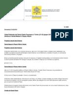 Visita Pastorale Del Santo Padre Francesco a Torino (21-22 Giugno 2015)