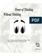 Blink - The Power of Thinking Without Thinking - Summary