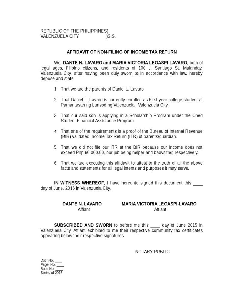 Affidavit of non filing of income tax affidavit public law altavistaventures Image collections