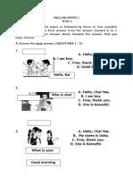 English Year 2 Paper 1