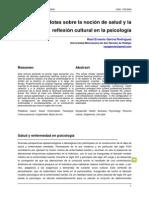 Notas Sobre la Noción de Salud y la Reflexión Cultural en la Psicología