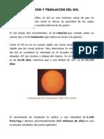 Rotacion y Traslacion Del Sol