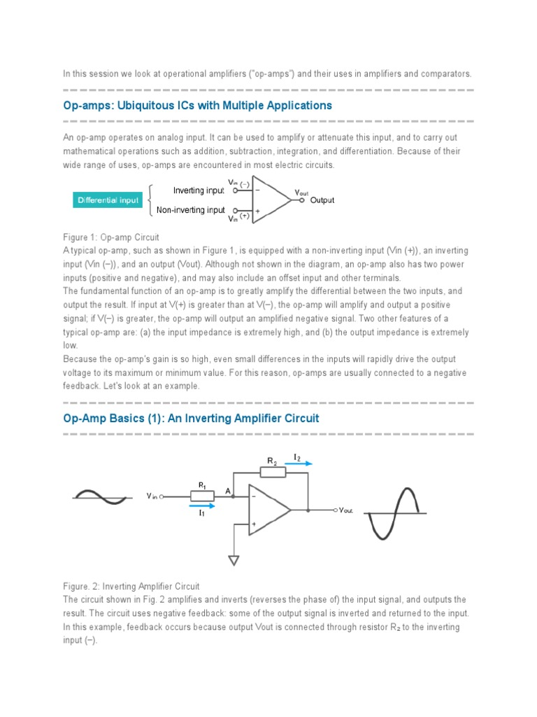 Op Amps Ubiquitous Ics With Multiple Applications Operational Amp Inverting Amplifier Circuit