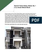 Iklan Rumah Dijual Di Taman Galaxy, Bekasi, Rp. 1 Miliar an, Rumah Mewah Murah - www.antara-sumbar.com