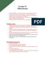 Lecture 17 (Third Stream)
