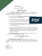 Affidavit of Loss Atm