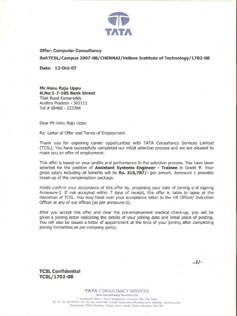 Tcs Offer Letter Pdf
