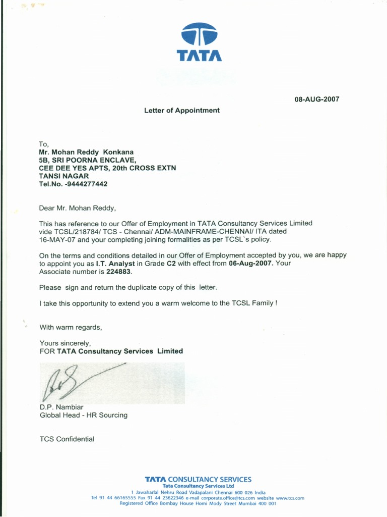 Appointment Letter  Letter Of Appointment