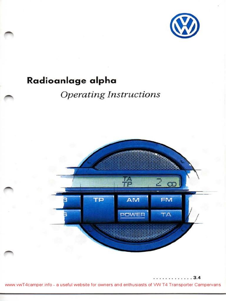1998 vw alpha radio compact cassette radio. Black Bedroom Furniture Sets. Home Design Ideas