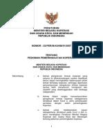 Permen Tentang Pedoman Pemeringkatan Koperasi