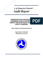 US DOT Office of the Inspector General Audit Report