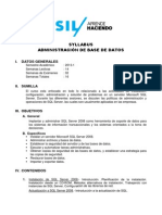 Syllabus - Administración de Base de Datos - 2013-1