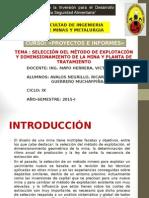 Selección Del Método de Explotación y Dimensionamiento de La Mina y Planta de Tratamiento_PROYECTOS de INVERSION MINEROS