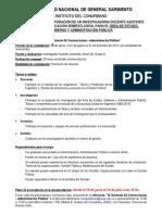 Convocatoria Para Incorporar Un Investigador Docente - Asistente - D2 2 - Semi Exclusiva- Estado, Gobierno y Administracion Publica