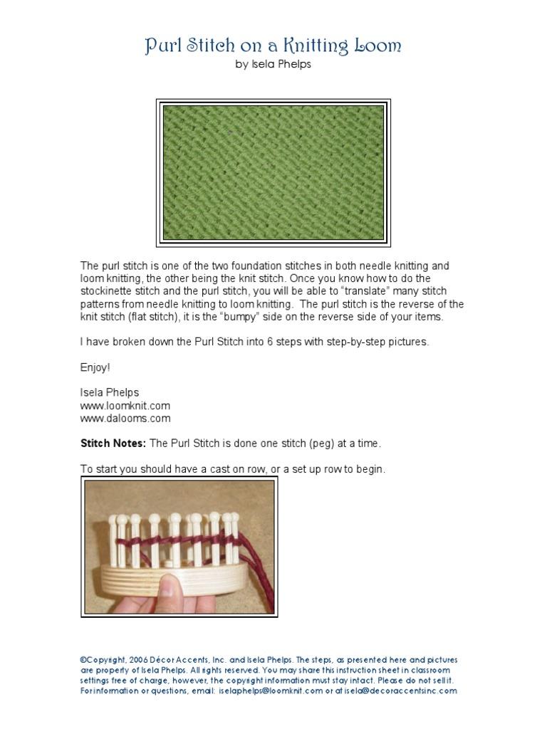 Purl Stitch Knitting Decorative Arts