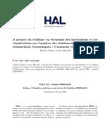 A propos du r´ealisme en ´economie des institutions et ses implications sur l'analyse des fondements juridiques des transactions ´economiques
