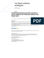 Institutionnalisme de John Commons Et Les Origines de l Etat Providence Aux Etats Unis
