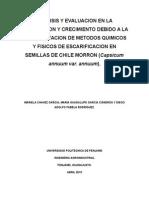 Análisis y Evaluacion en La Germinacion y Crecimiento Debido a La Implementacion de Metodos Quimicos y Fisicos de Escarificacion en Semillas de Chile Morron