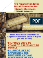 Sentro Rizal's Mandate - Cultural Education for Filipinos Overseas