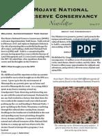 Mojave National Preserve Conservancy Newsletter - Spring 2015