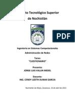 CUESTIONARIO ADMINISTRACION DE REDES