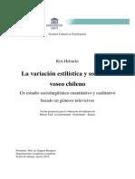 La variación estilística y social del voseo Chileno