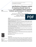 The contribution of human capital and resource-based view to small- and medium-sized tourism venture performance in Ghana